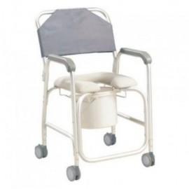 Cadeira de banho e sanitária com rodízios em alumínio