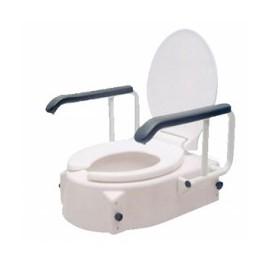 Alteador de sanita ajustável, com apoios de braços rebatíveis e tampa
